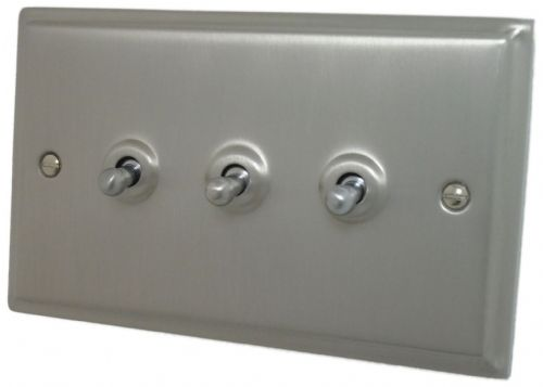 G&H DSN283 Deco Plate Satin Nickel 3 Gang 1 or 2 Way Toggle Light Switch